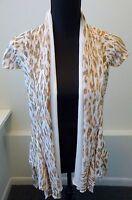 Alberto Makali NWT White Print Cap Sleeve Asymmetrical Vest Size Sml Retail $158