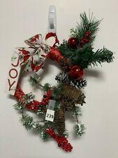 "Christmas Theme Joy Berries Boughs Ornament Pine Cones Wreath 16"" Artificial"