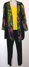 Antthony 3 Pc Outfit Set  Yellow Top, Multicolor Jacket, Black Pull On Pants S