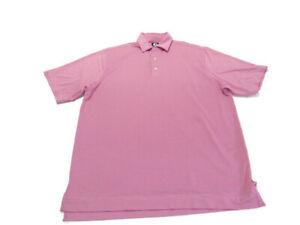 Footjoy FJ Shirt Red White Pin Stripe Short Sleeve Lightweight Golf Polo Mens L