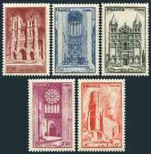France B185-B189,hinged.Mi 632-636. 1944.French Cathedrals,1944.Angouleme,Albi,