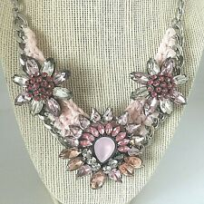 "Statement Bib Necklace Resin Rhinestone Collar Jewelry Pink 16""-22""NEW Gift Box"