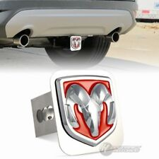 """Red Dodge RAM 3D Logo Stainless Steel Hitch Cover Cap For 2"""" Trailer Receiver"""
