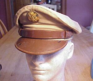 Vintage WWII US Army Air Crew Military Cap Khaki Crusher Visor Hat