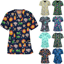 Medical Scrub Men Women Top Tunic Uniform Nurse Hospital Tops Blouse T-shirt