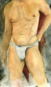 The Pillar, Painting, Jock, Esteban 1/4/50 Free Ship, nude male
