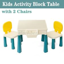Kids Building Block Table Set with 2 Chair,2 Box Children Toddler Play Activity
