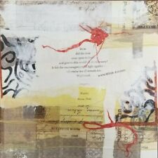 """8"""" X 8"""" Canvas Panel Art by MiTaK Recycled Reused Red Paper Collage Poem Hafiz"""