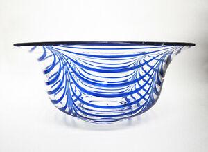 "MMA METROPOLITAN MUSEUM OF ART ""BLUE LOOPED BOWL"" HAND BLOWN GLASS 1980s EUC"
