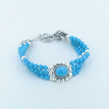 3 Strand QVC 925 Sterling Silver Natural Blue Sleeping Beauty Turquoise Bracelet