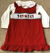 Zucchini Corduroy Smocked Dress Christmas Stockings Red White Shirt 2T