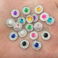 NEW 150PCS 10mm Resin round Flatback rhinestone Embellishment crafts buttons DIY