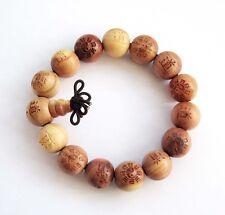 15mm Taiji 8-Diagram Word DAO Wood Tibet Buddhist Prayer Beads Mala Bracelet