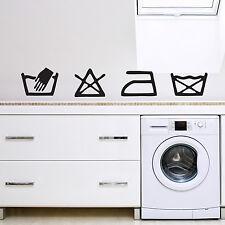 Laundry Washing Symbols Utility Kitchen Wall Art Vinyl Sticker Decal Mural