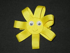 """New """"Sunshine"""" Ribbon Sculpture Girls Hairbow Clip Clippie Bow Boutique Summer"""