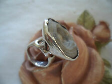 Vintage Retro Mid Century Modernist Brutalist Jewelry Sterling Silver Ring Geode