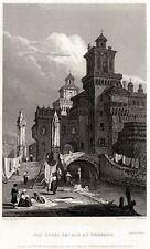 FERRARA: Castello Estense.Emilia-Romagna. ACCIAIO.Stampa Antica.Certificato.1829
