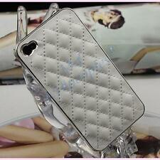 Luxury New White Deluxe Leather Chrome Case Cover for iPhone 4S 4G 4