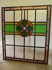 Fully Restored ORIGINAL Edwardian STAINED GLASS WINDOW PANEL 546mm by 631mm