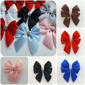 6 pack Satin Ribbon Bows Silver Sparkle Glitter Trim 7 cm Decorative Gift Bow
