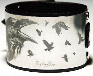 Black Leather Crow Cuff Wristband Bracelet Gothic Steampunk Metal Aluminium