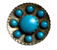 ARTS & CRAFTS Circular Hammered SILVER Faux Turquoise Cabochon Brooch GIFT BOXED
