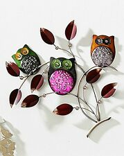 Large Metal Wall Art Decor Picture - 3 Colourful Owls on Branch with Leaves.54cm
