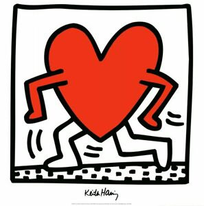 """KEITH HARING Untitled (1984) 27.5"""" x 27.5"""" Poster 1988 Pop Art Black & White,"""