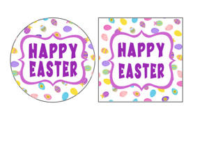 Happy Easter Purple  24 x Round, Square Stickers Labels