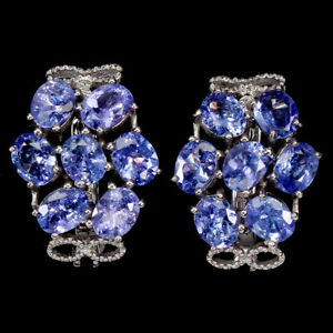 Unheated Oval Tanzanite 5x4mm 14K White Gold Plate 925 Sterling Silver Earrings