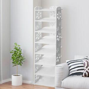 5/6/7/8 Tier Wood Shoe Rack Storage Shelf Unit Cabinet Organiser Footwear White