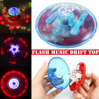 Colorful Standing UFO Drift Flashing LED Light Music Gyro Funny Cute Kids Toy