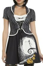 NIGHTMARE BEFORE CHRISTMAS GOTHIC JACK SKELLINGTON MOON CORSET DRESS X HAIR BOW