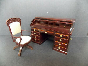 DOLLHOUSE ROLL TOP DESK W/ CHAIR- MAHOGANY