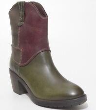 Jana Be Natural Stiefelette 37 LEDER Boots Khaki Braun Used Plateau Italy NEU