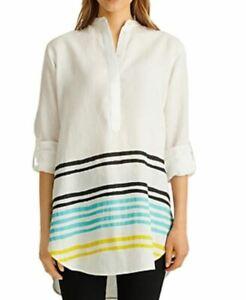 Lauren Ralph Lauren Striped Cuffed Shirt Capri Water Multi XL