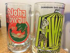 Hawaii Beer Mugs 1969 1981 Canada Gas Assoc Trip Souvenir Vintage Hula Girl