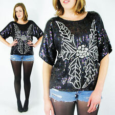 Vintage 80s Black Christmas Holly Sequin Beaded Silk Party Dress Blouse Top S M