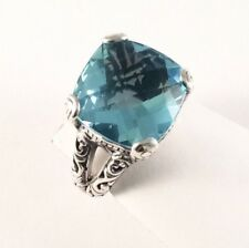 Sterling Silver Square Cushion Cut Blue Topaz Filigree Size 6 & 1/2 Ring R060405