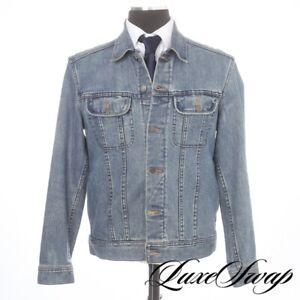 #1 MENSWEAR APC Paris Faded Denim Stretch Blue Jean Trucker Jacket Spring Coat L