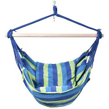 Deluxe Hammock Rope Chair  Porch Yard Tree Hanging Air Swing Outdoor Blue &Green