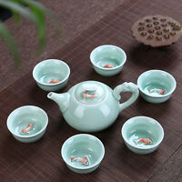 Ceramic 3D Koi Fish Kung Fu Matcha Tea Ceremony Cup Teapot Set 7pcs