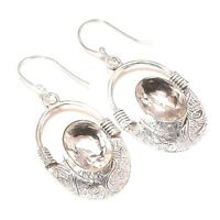 Faceted Gray Quartz Gemstone .925 Sterling Silver Earring 2""