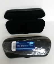 Lot of 2 Black Magnivision V Shape Eyeglasses / Sunglasses Hard Case NEW