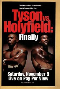 1996  Pay Per View Post Card 8x5   Mike Tyson vs Holyfield Finally