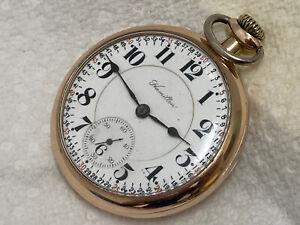 old pocket watch RAILROAD RR HAMILTON two tone movement 21 jewels c 1914 c 992