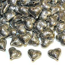 MBX7255 Antiqued Silver 12mm 2-Sided Sunburst Embellished Heart Metal Bead 100pc