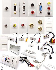 Modular Network Faceplate Wall Plate & HDMI SVGA USB Coax AV RCA Stub Wholesale