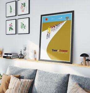 Tour de France illustration print cycling biking racing A1, A2, A3 Poster