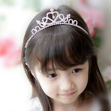 Wedding Party Children Girl Heart-Shape Crown Headband Tiara Clear Crystal
